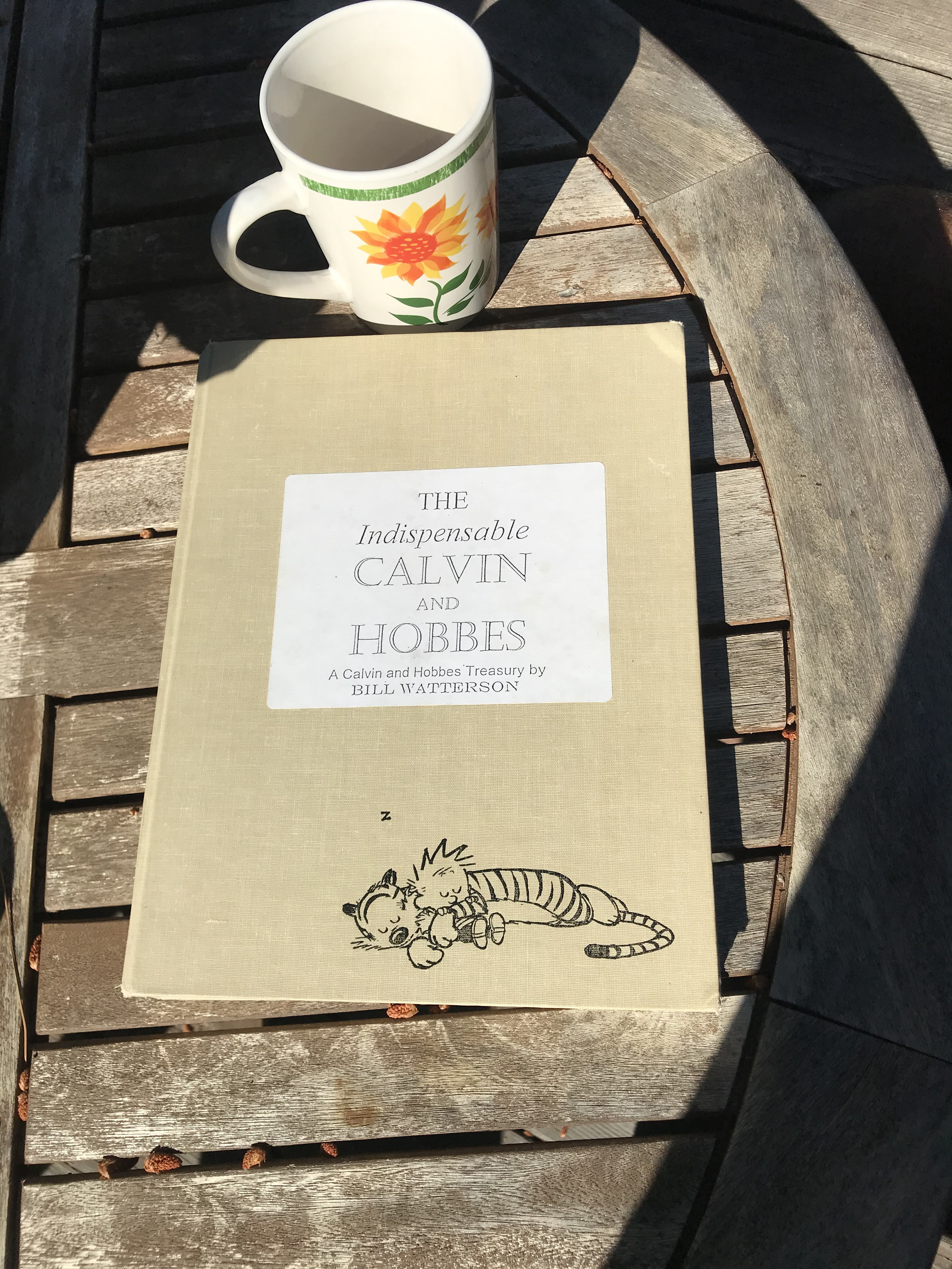 A Calvin and Hobbes book next to a coffee cup