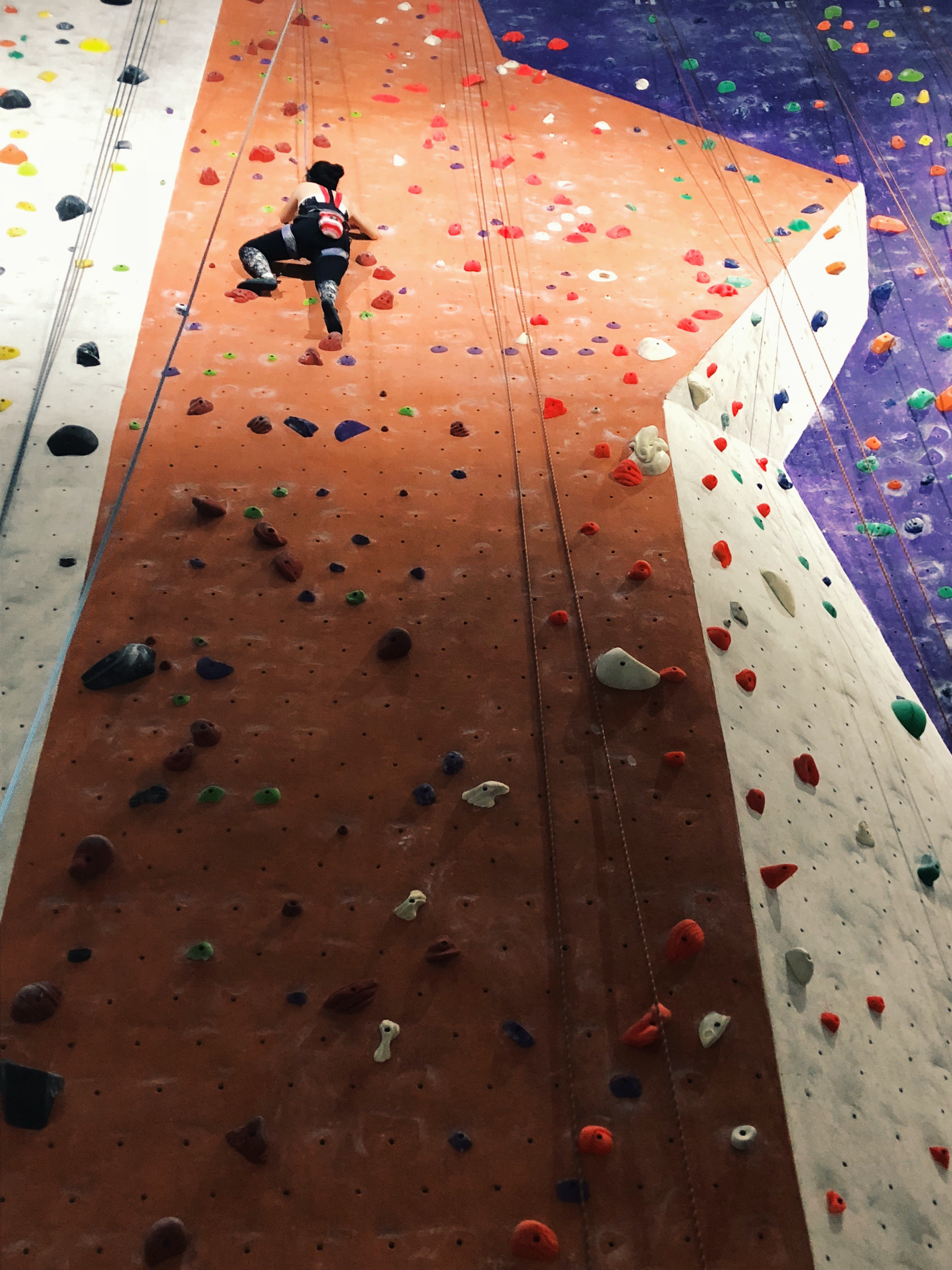 Climbing wall with woman near the top.