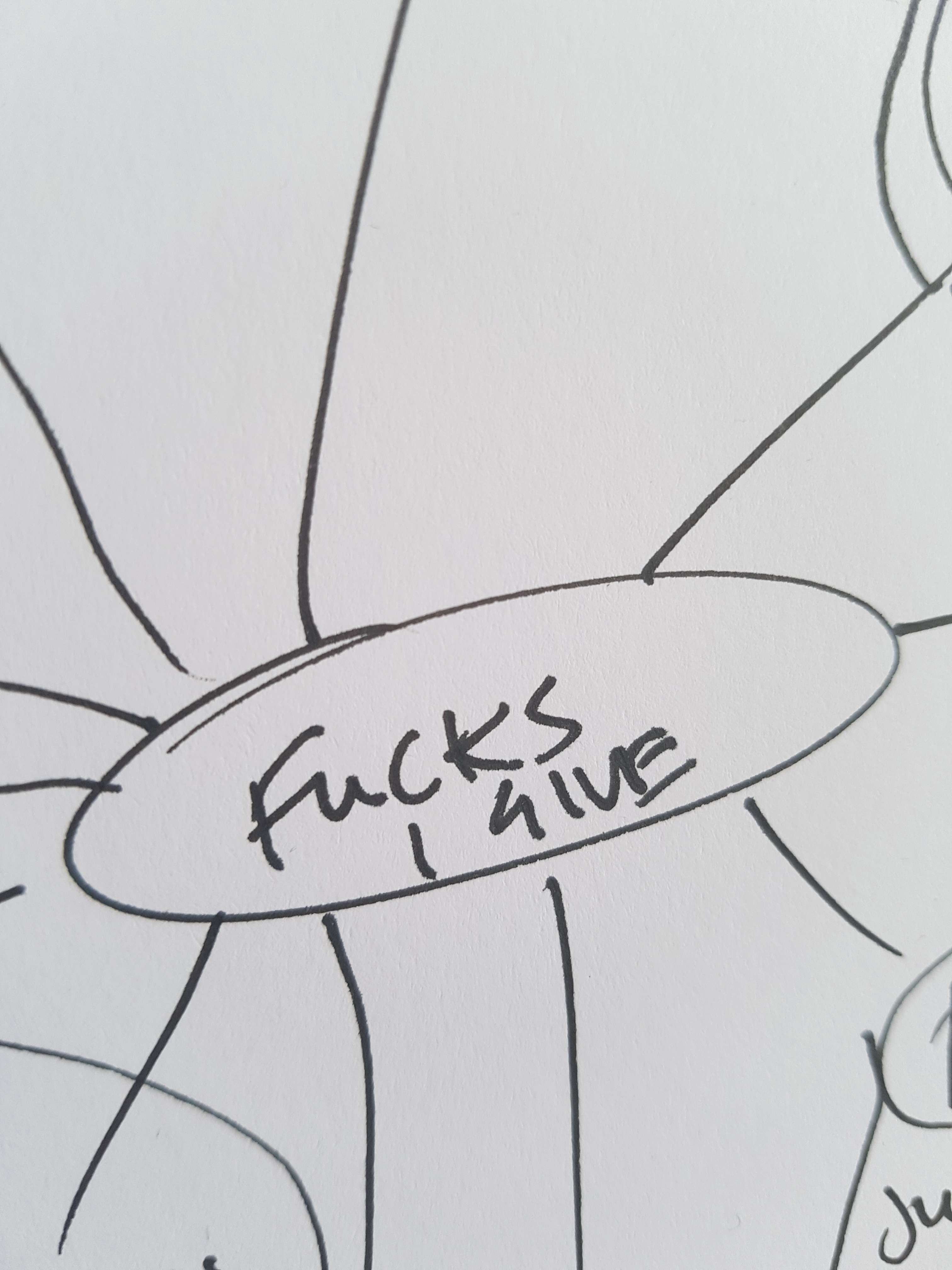 Handwritten centre circle of a mind map with 'Fucks I Give' written in the middle. Lines come off of the circle.