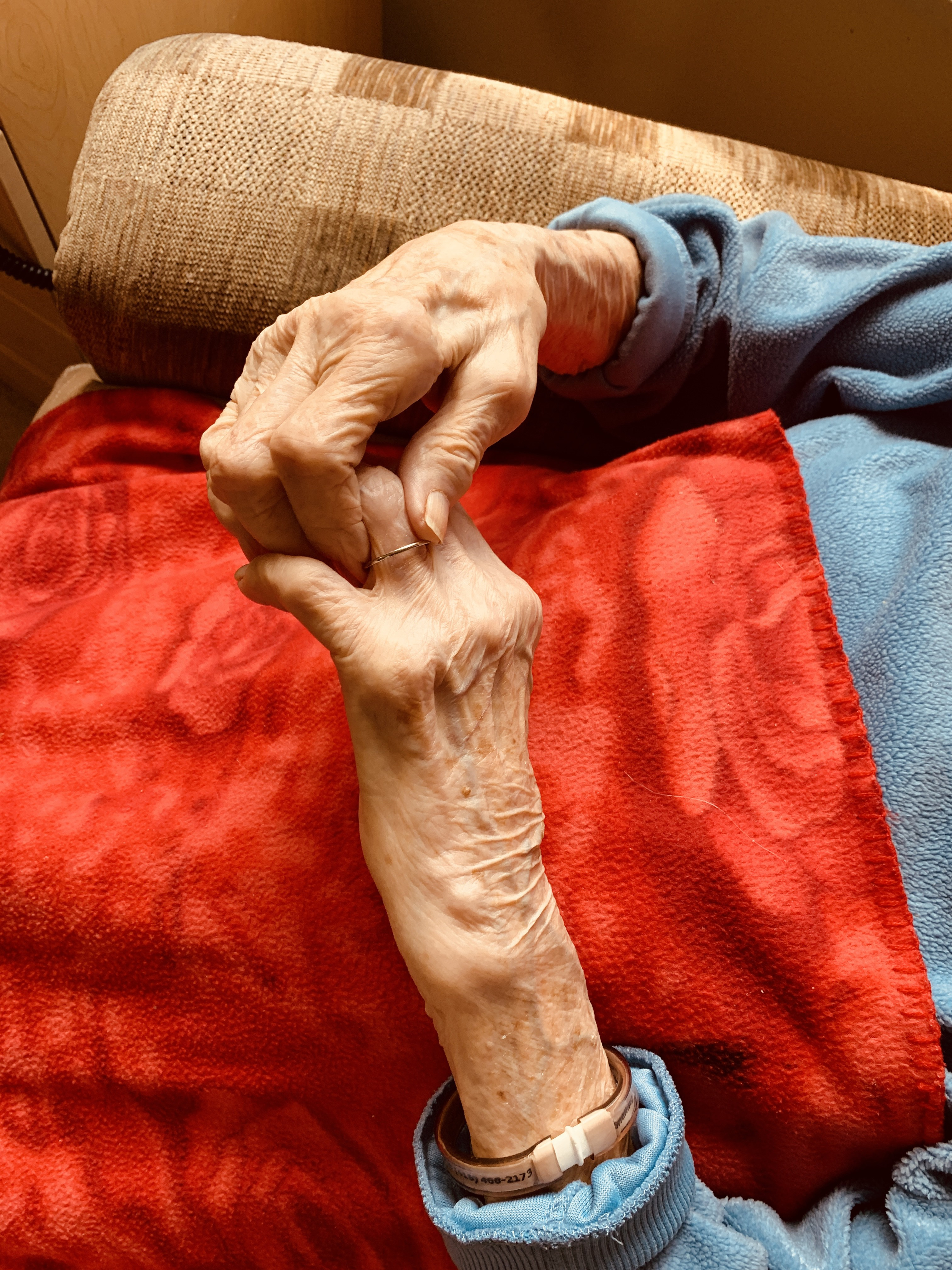 Photo taken by author, Samantha Hodder. Depicts the hands of Madge, at 111 years