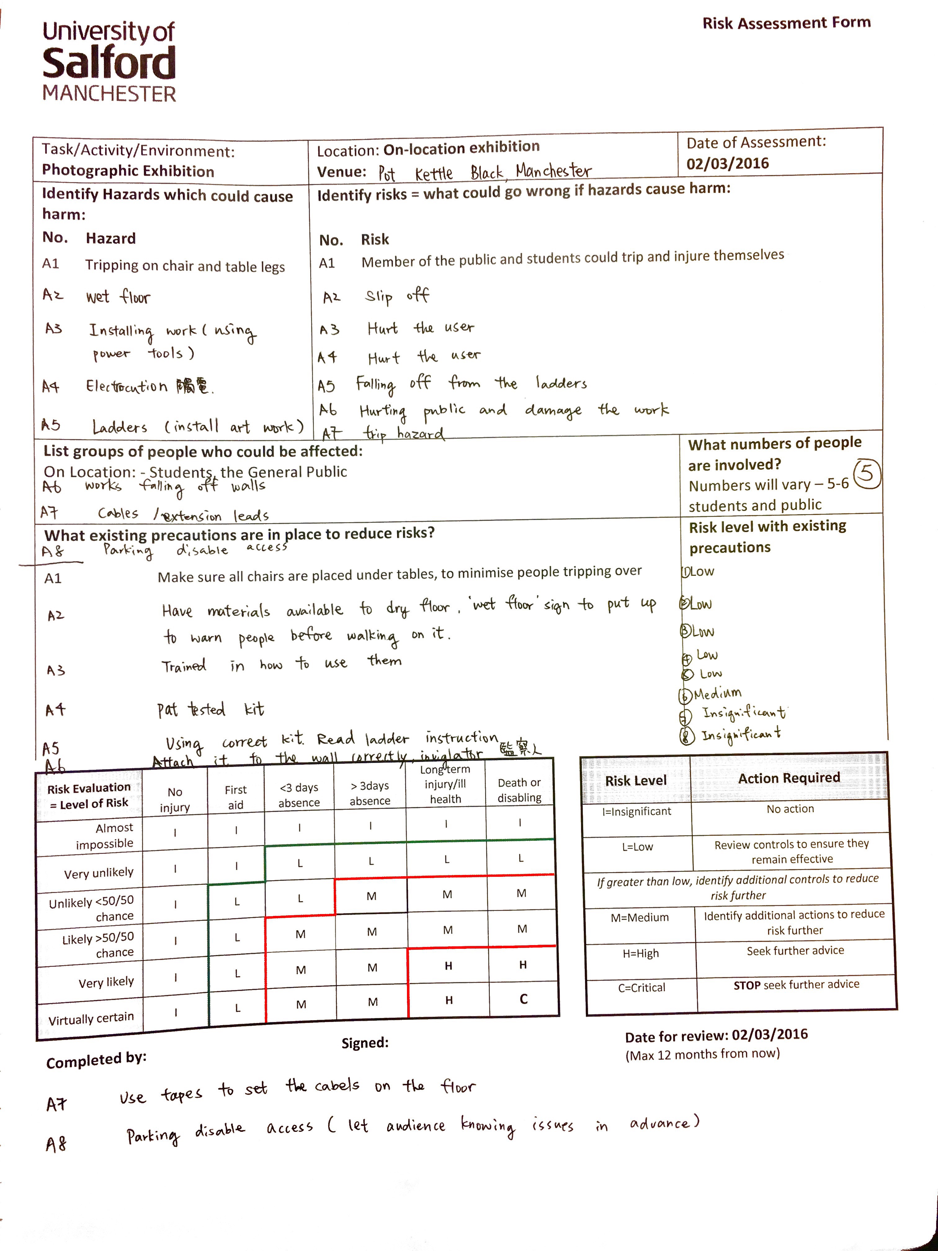 Risk Assessment Form By Karen Chhui Medium Managing risk assessment 5.1 establishing a risk assessment programme 5.2 identifying work areas 5.3 a form on which to record the significant findings of the risk assessment in a more. risk assessment form by karen chhui