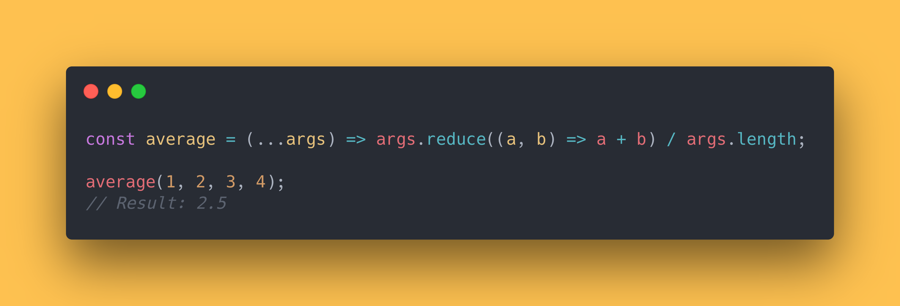JS code block showing how to use the reduce method to get an average value of the arguments.