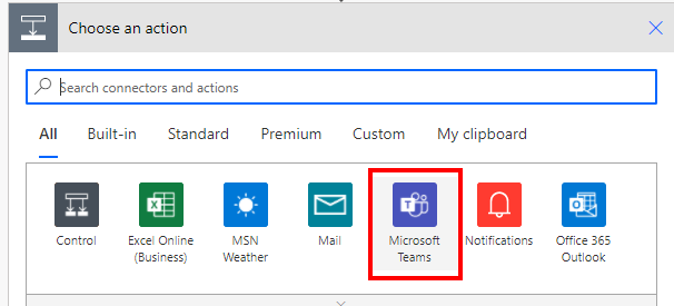 Power Automate Choose an action—Microsoft Teams
