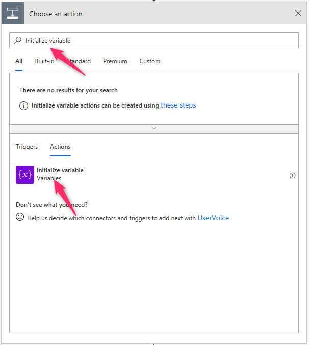 Microsoft Flow initialize variable