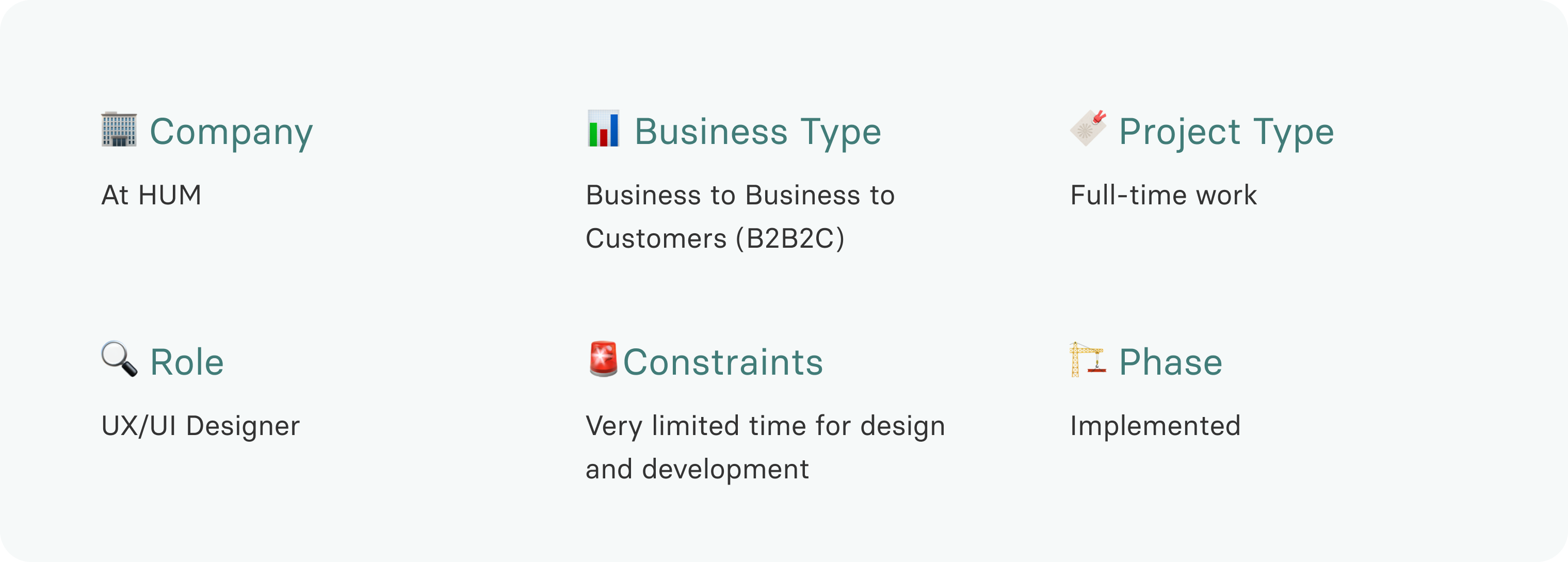 B2B2C Company, Full-time project, UX/UI Designer Role, Constraints: very limited time for design and development.