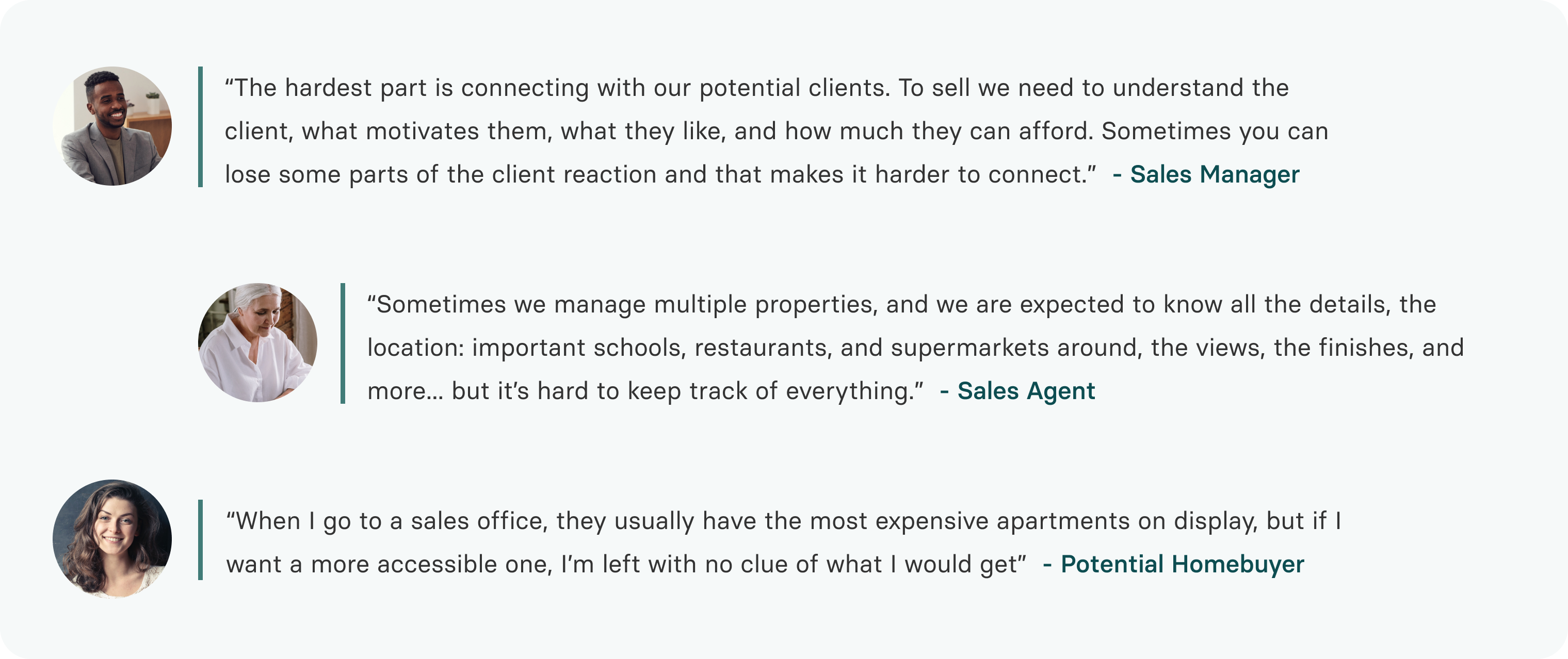 Agents: it's difficult to manage multiple properties and connect. Buyers: it's hard to visualize the property I'm buying.