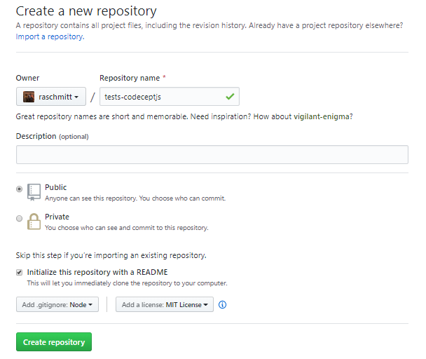 Creating a new repository on GitHub