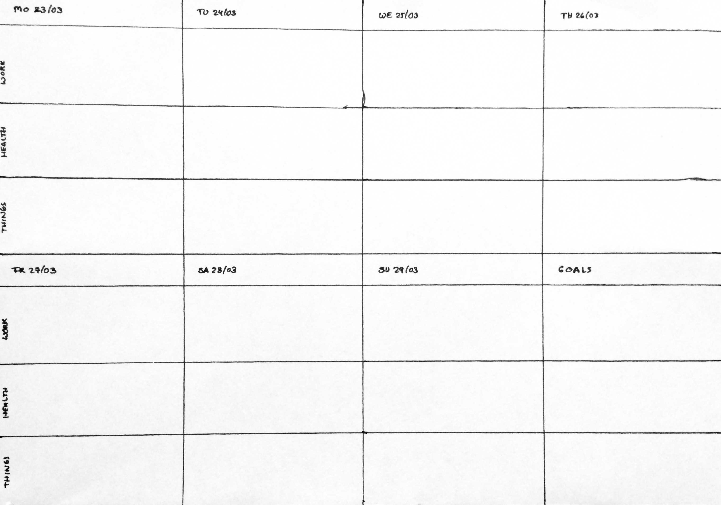 Weekly plan; each day has categories work, health, and things