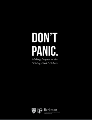 "Cover of the Berkman Klein Center's ""Don't Panic: Making Progress on the 'Going Dark' Debate"" report"