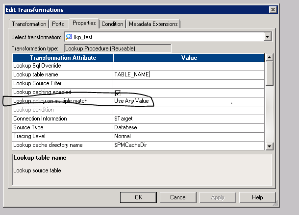 Informatica PowerCenter: Find lookup policy on multiple