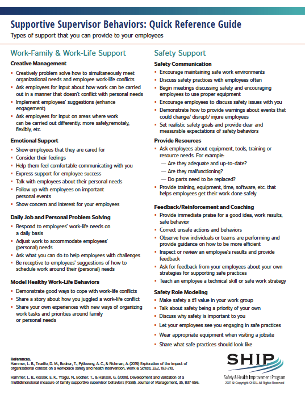 Supportive supervisor behaviors for managers and supervisors to support work-life balance from the Oregon Healthy Workforce Center, a Center of Excellence for Total Worker Health