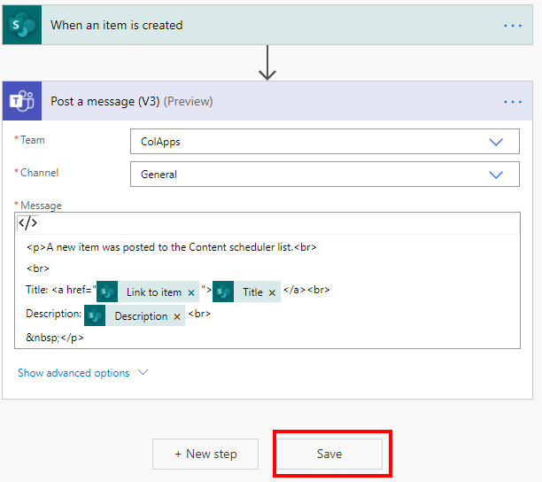 Power Automate Save circled