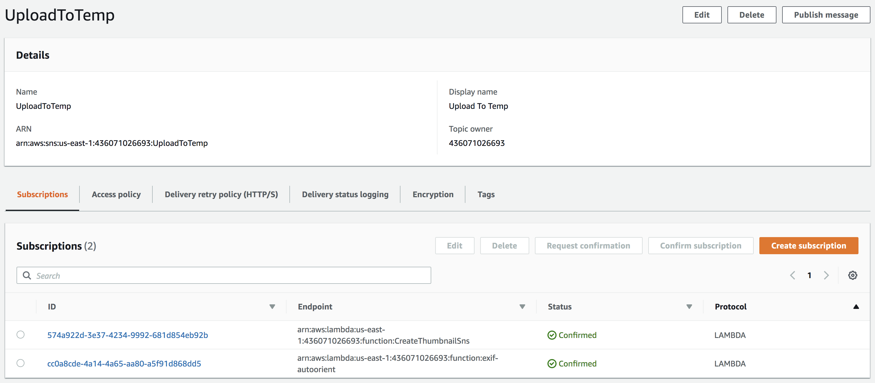 AWS console showing SNS notification with the Lambda functions subscribed to it