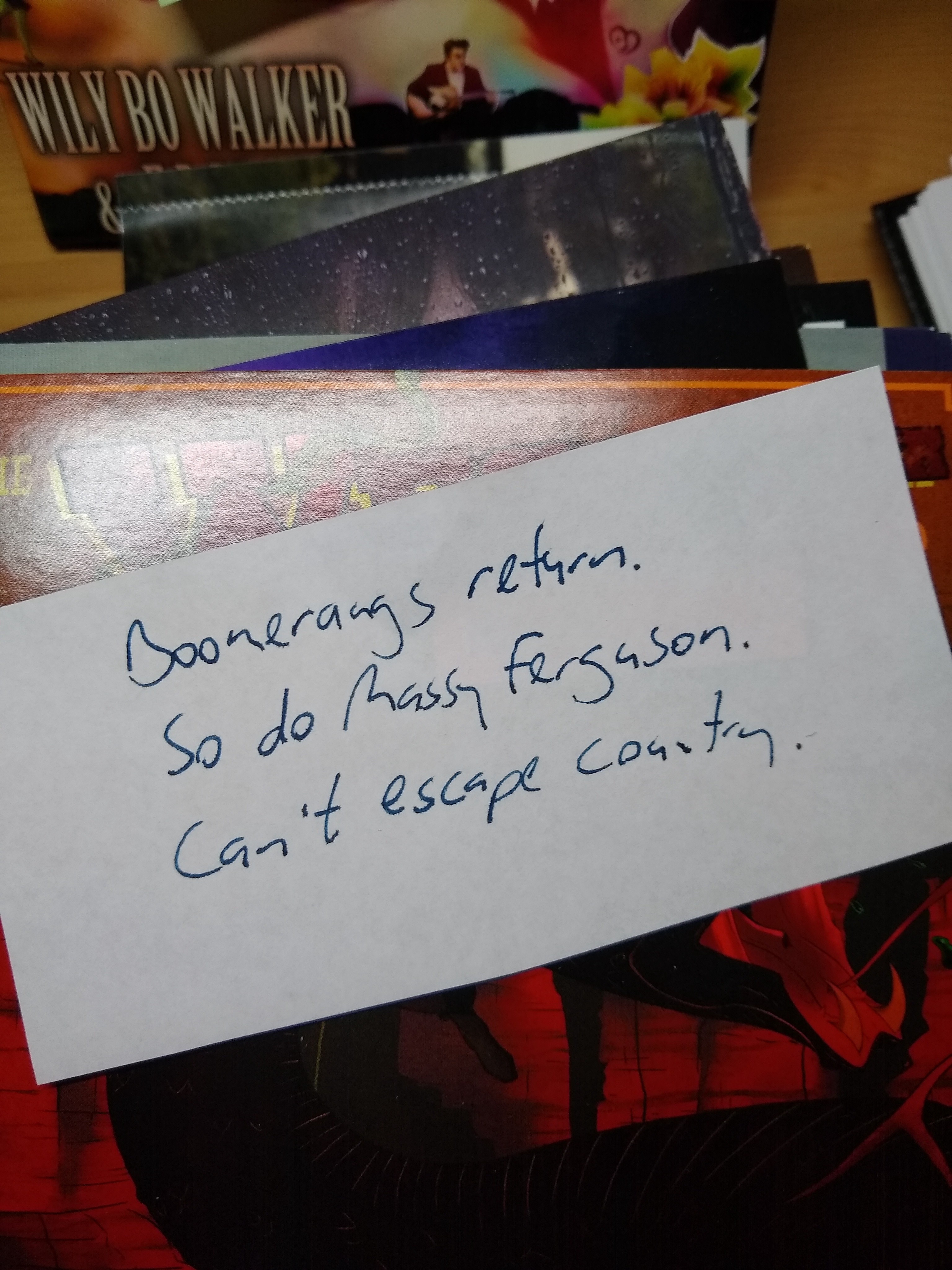 Haiku on a piece of paper: Boomerangs return. So do Massy Ferguson Can't escape country.
