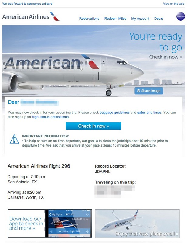 american airlines trigger email