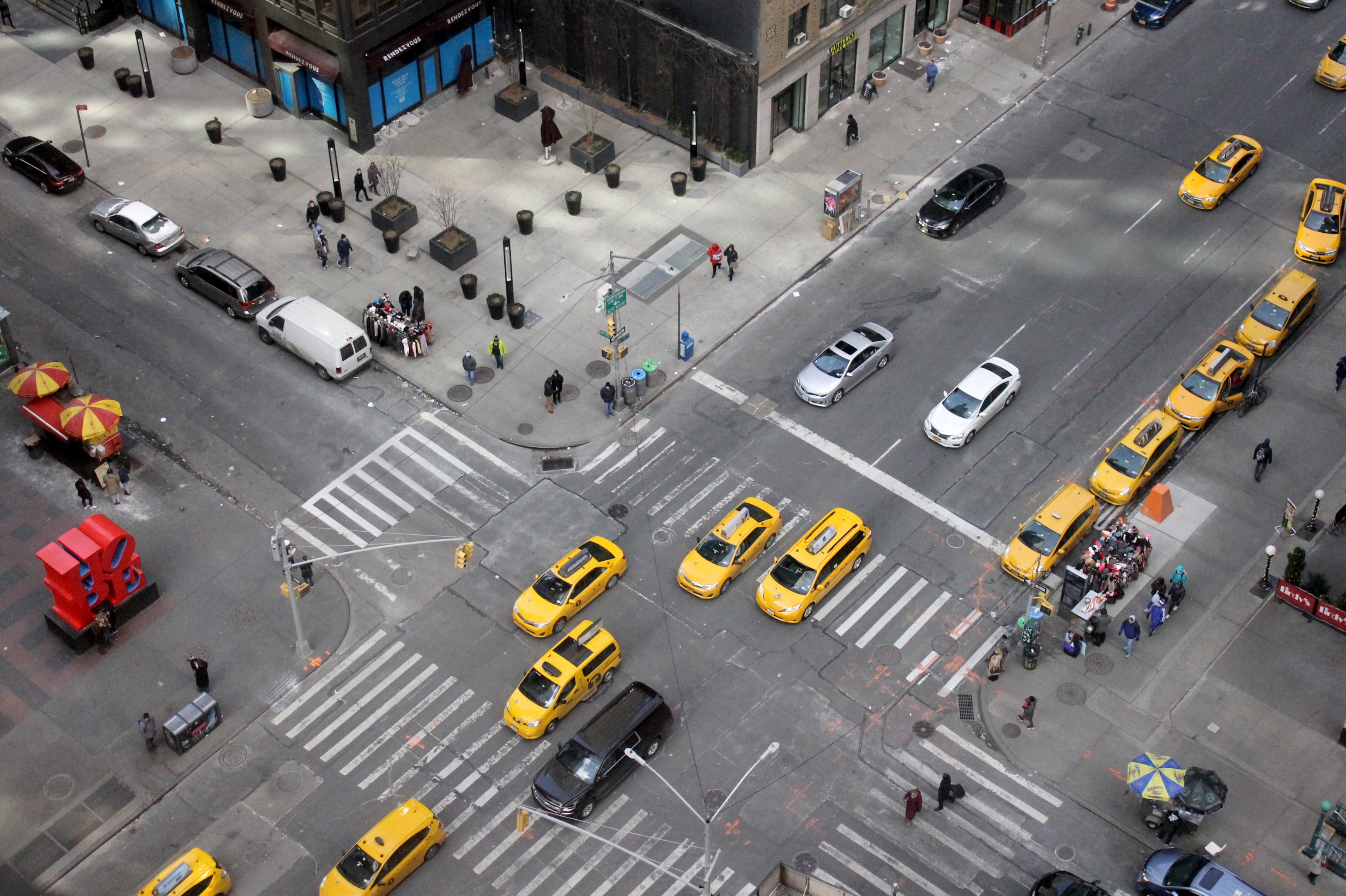 Intersection with cars on all sides