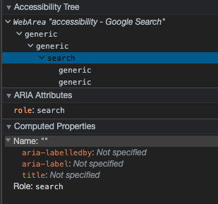 A screenshot taken from the chrome dev tools accessibility tree.