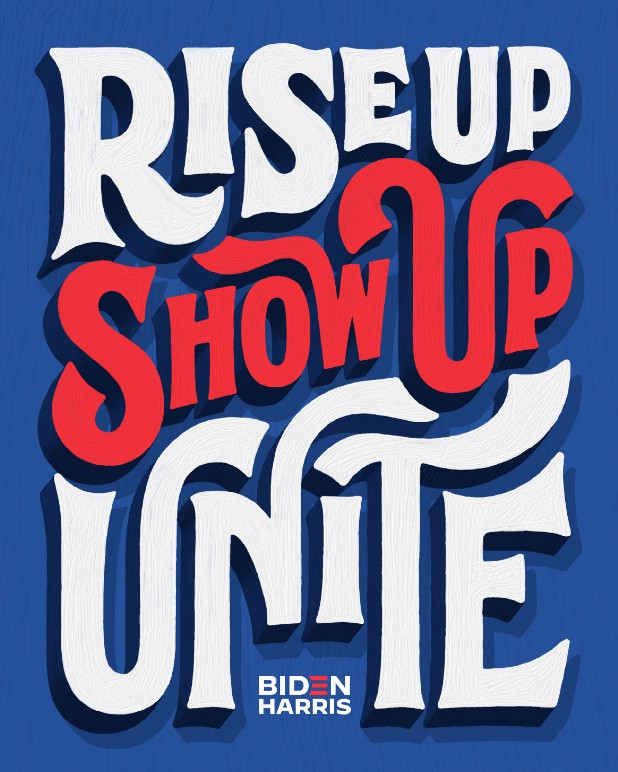 Lettering art of the phrase 'Rise up. Show up. Unite!' by Lauren Hom