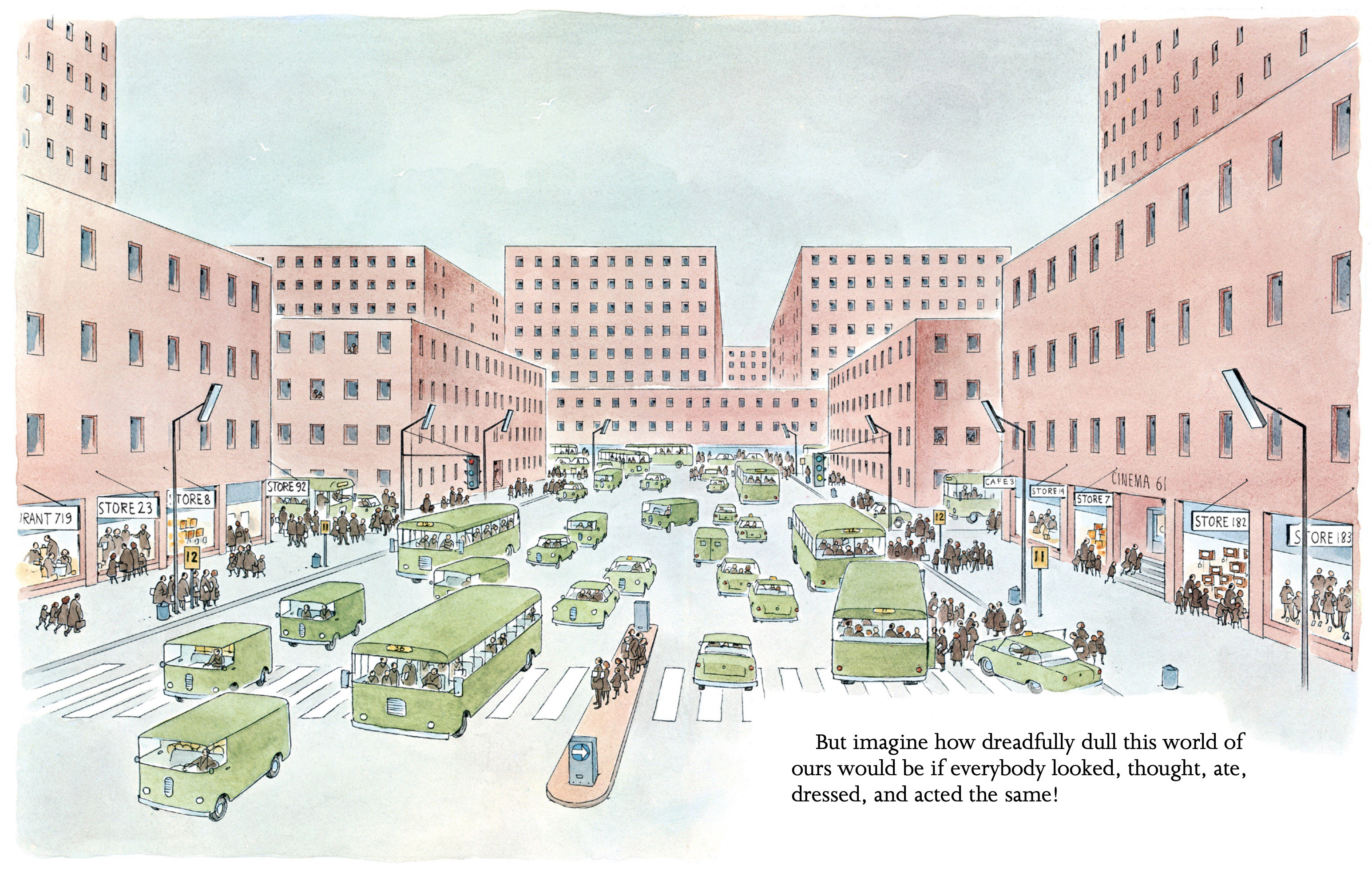 """Page from """"People"""" showing a drab rectilinear cityscape with a street full of same-colored people in same-colored vehicles."""