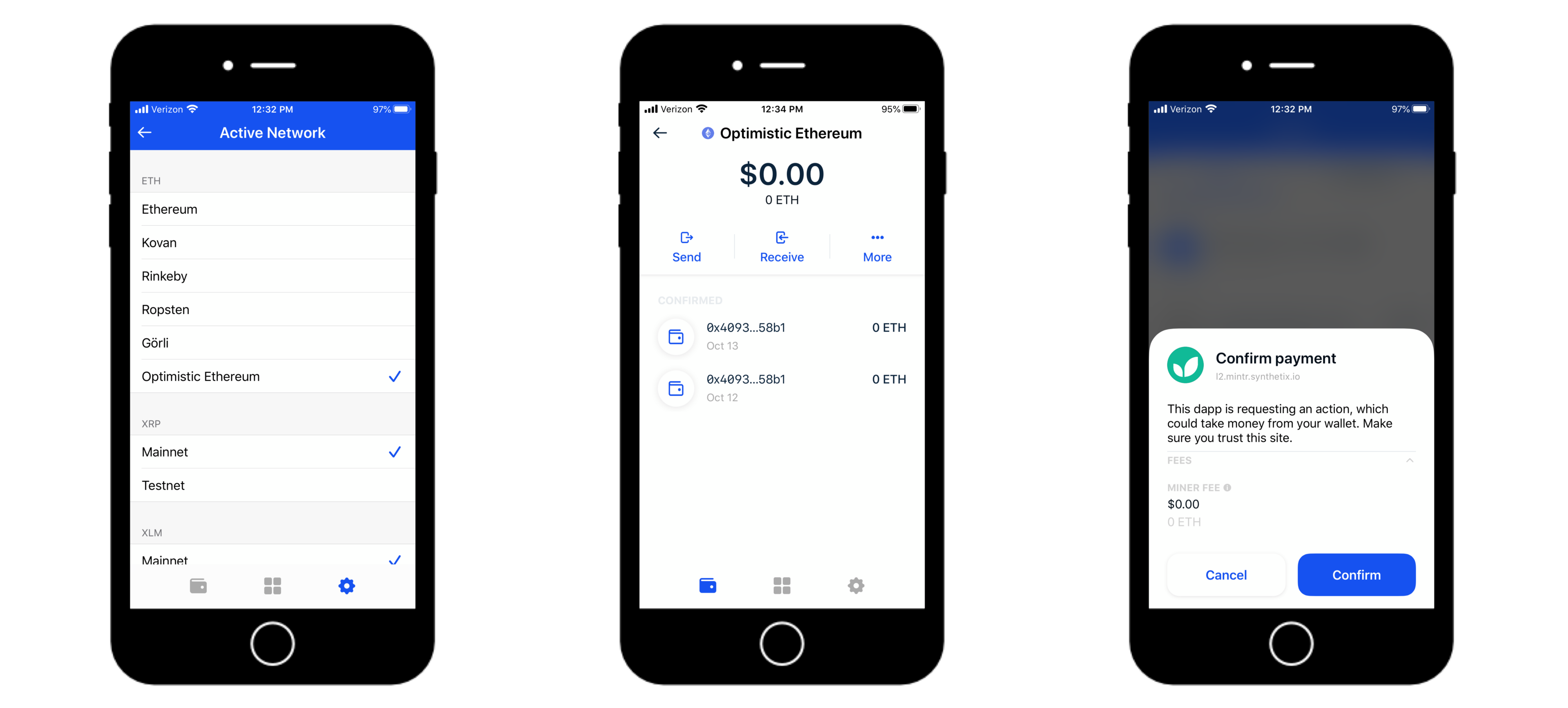 Screenshots of the flow of Coinbase Wallet on Optimistic Ethereum.