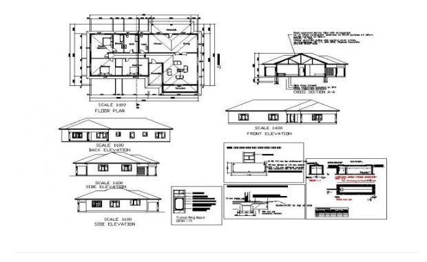 Plan of house design with elevation details in autocad