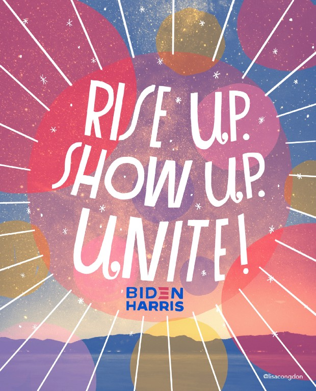 Lettering art of the phrase 'Rise up. Show up. Unite!' by Lisa Congdon