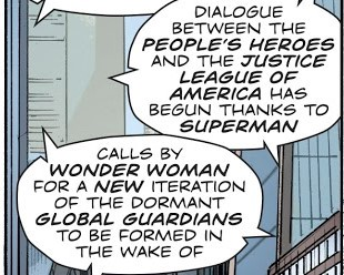 Word baloon talking about Wonder Woman helping to form new superteam. The only other thing she's done, and it's off panel!