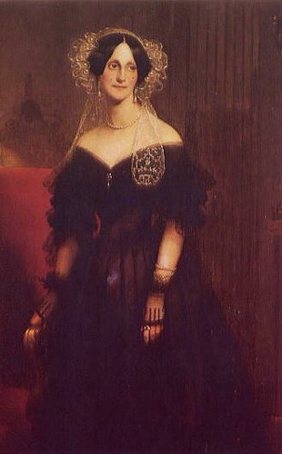 Dorothea as a middle-aged woman, wearing a black off-the-shoulder dress and lacy white cap.