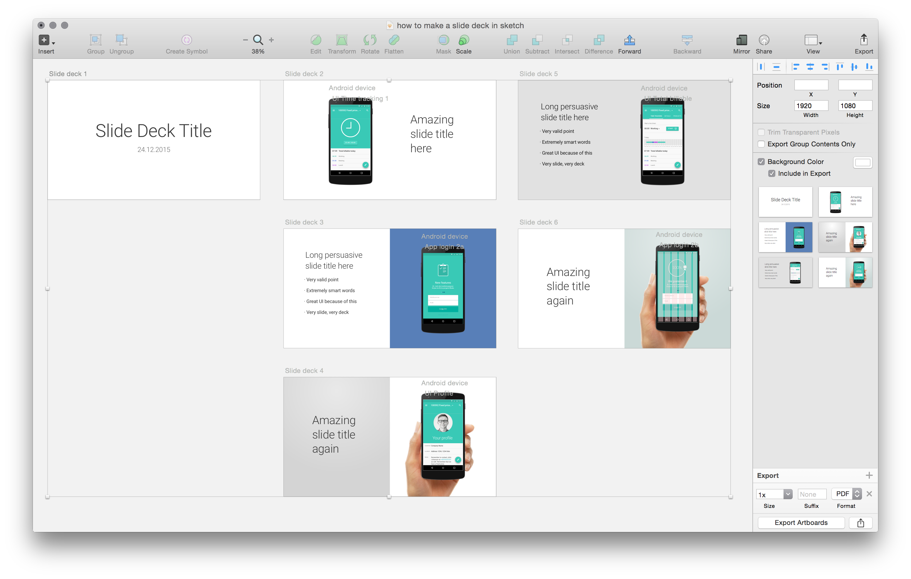 Create and maintain a Slide Deck from within your Sketch file