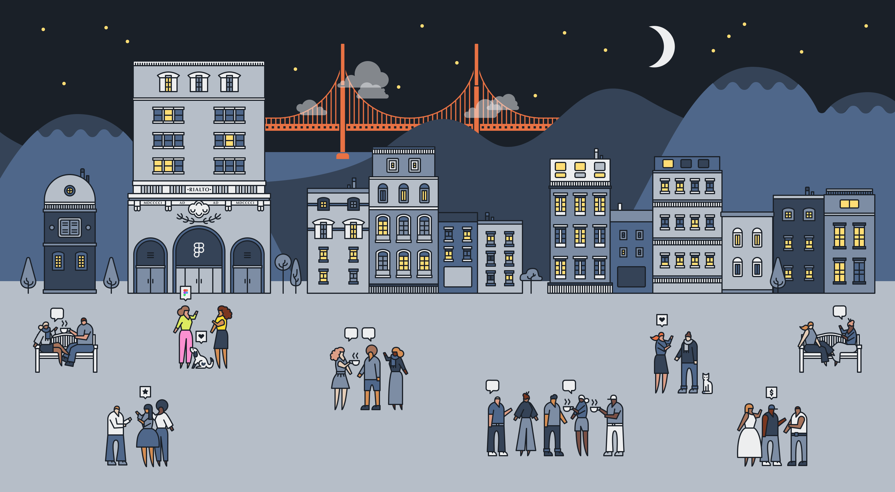 Digital illustration of people, buildings, and a skyline of San Francisco