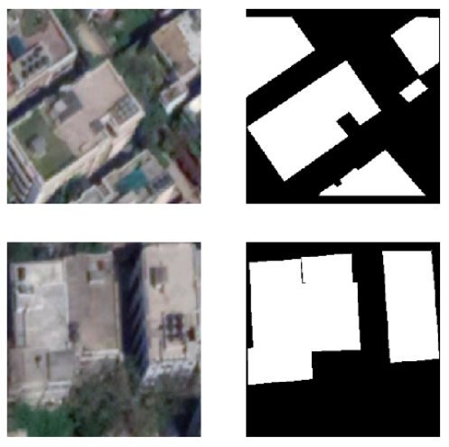 Roof top satellite images converted into image segmented photo
