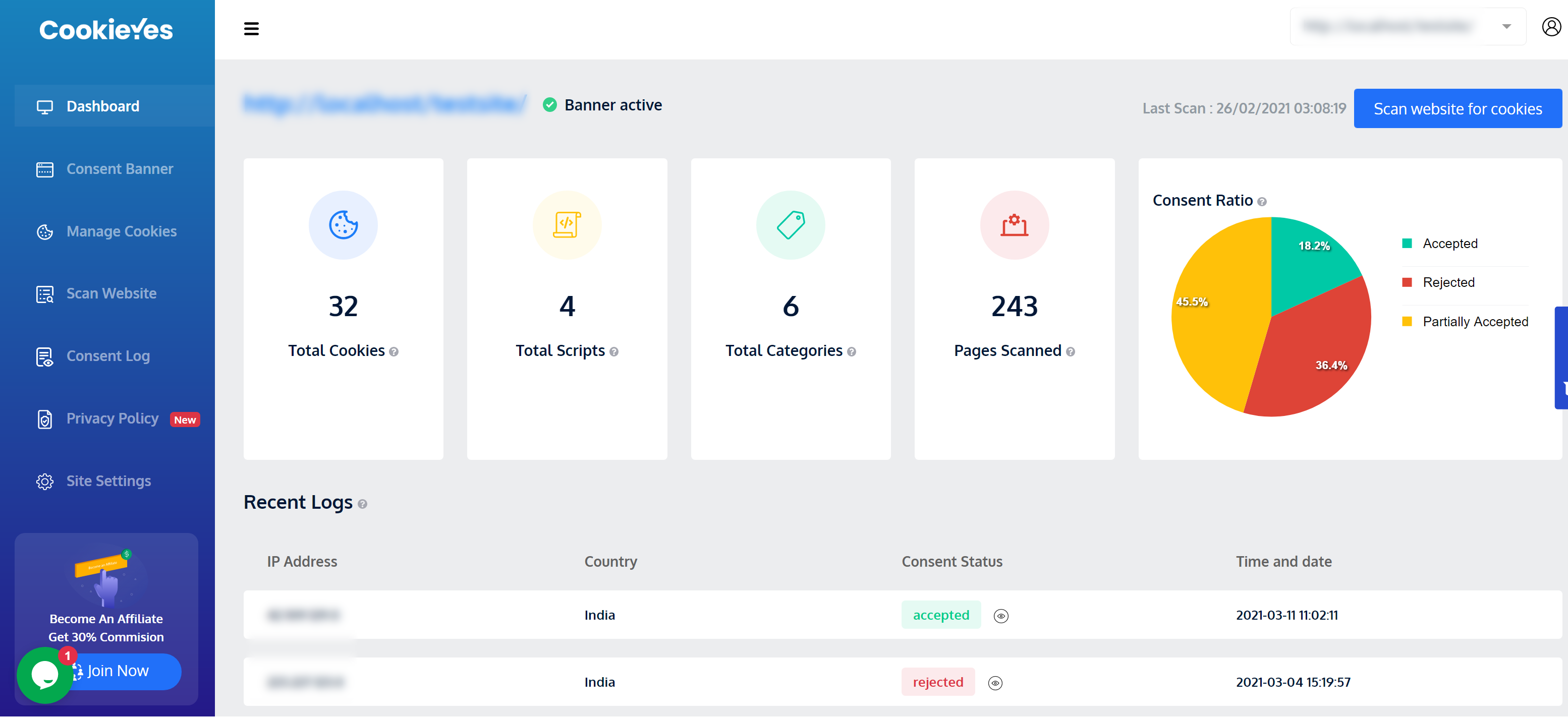 Dashboard of CookieYes cookie consent solution