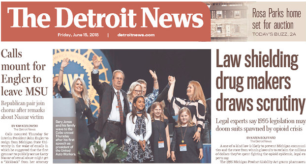 Detroit News: Schuette's Big Pharma Immunity Law from 1995