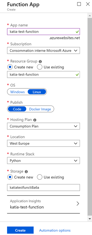Screenshot of Azure Portal — Create Function App
