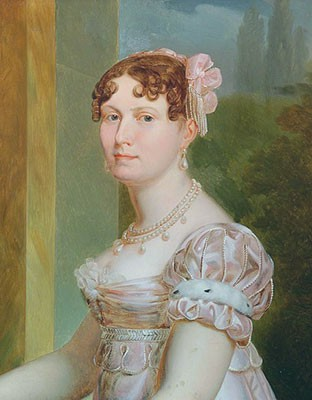 Catherine in an empire-waist dress with a pearl necklace and pearl earrings. She has medium brown curly hair.