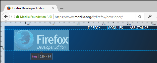 Measuring elements and distances in Firefox DevTools