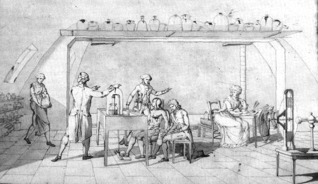 Sketch of Marie-Anne Lavoisier's husband's laboratory. Credit: HistoryOfScience