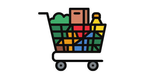 Animated shopping cart full of groceries