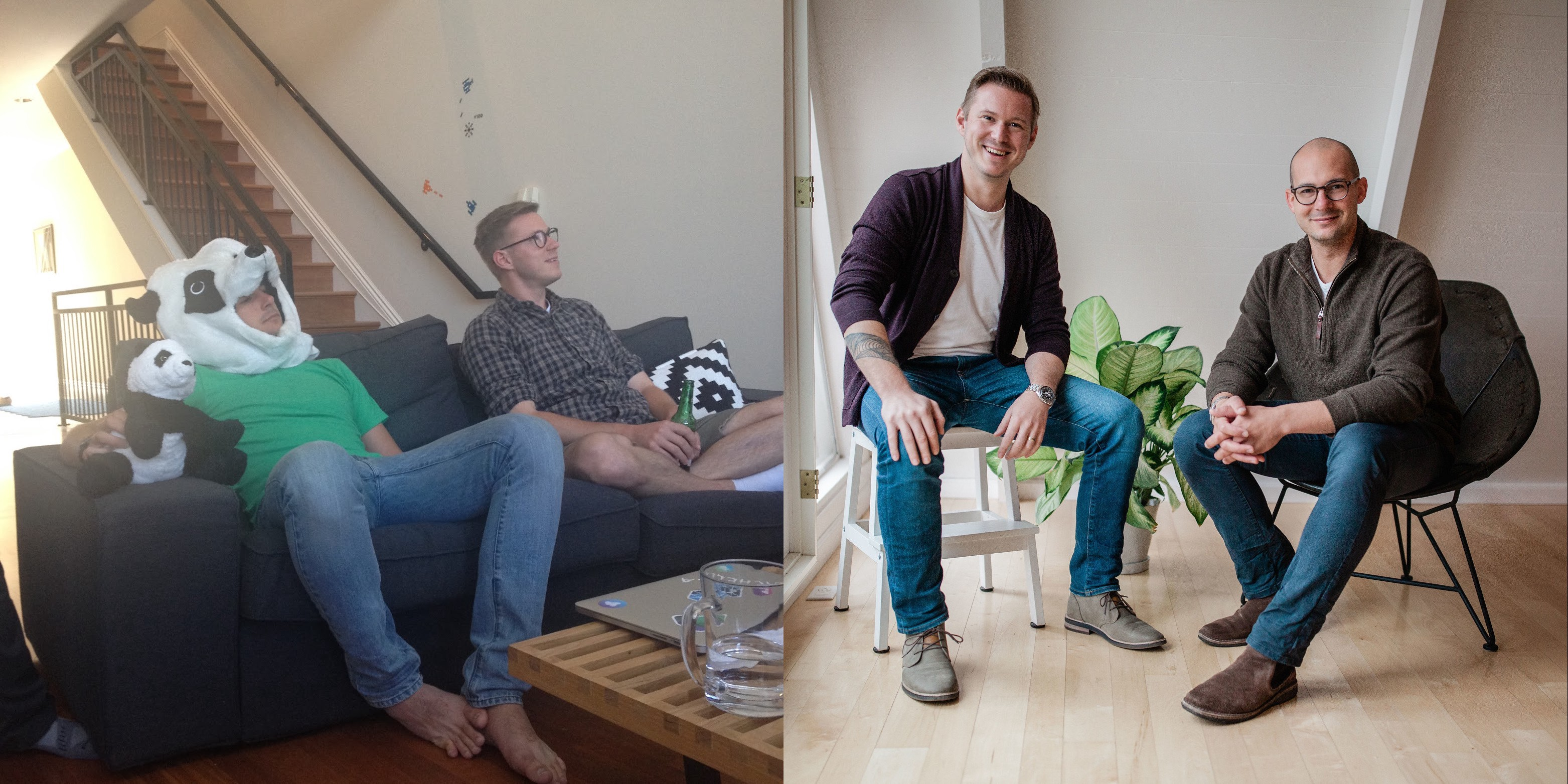 Myself pictured with co-founder Niklas Nielsen circa 2014 (left) and in early 2020 (right)