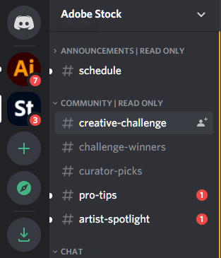 A screenshot selection of part of Adobe Stock's Discord Channel for contributors