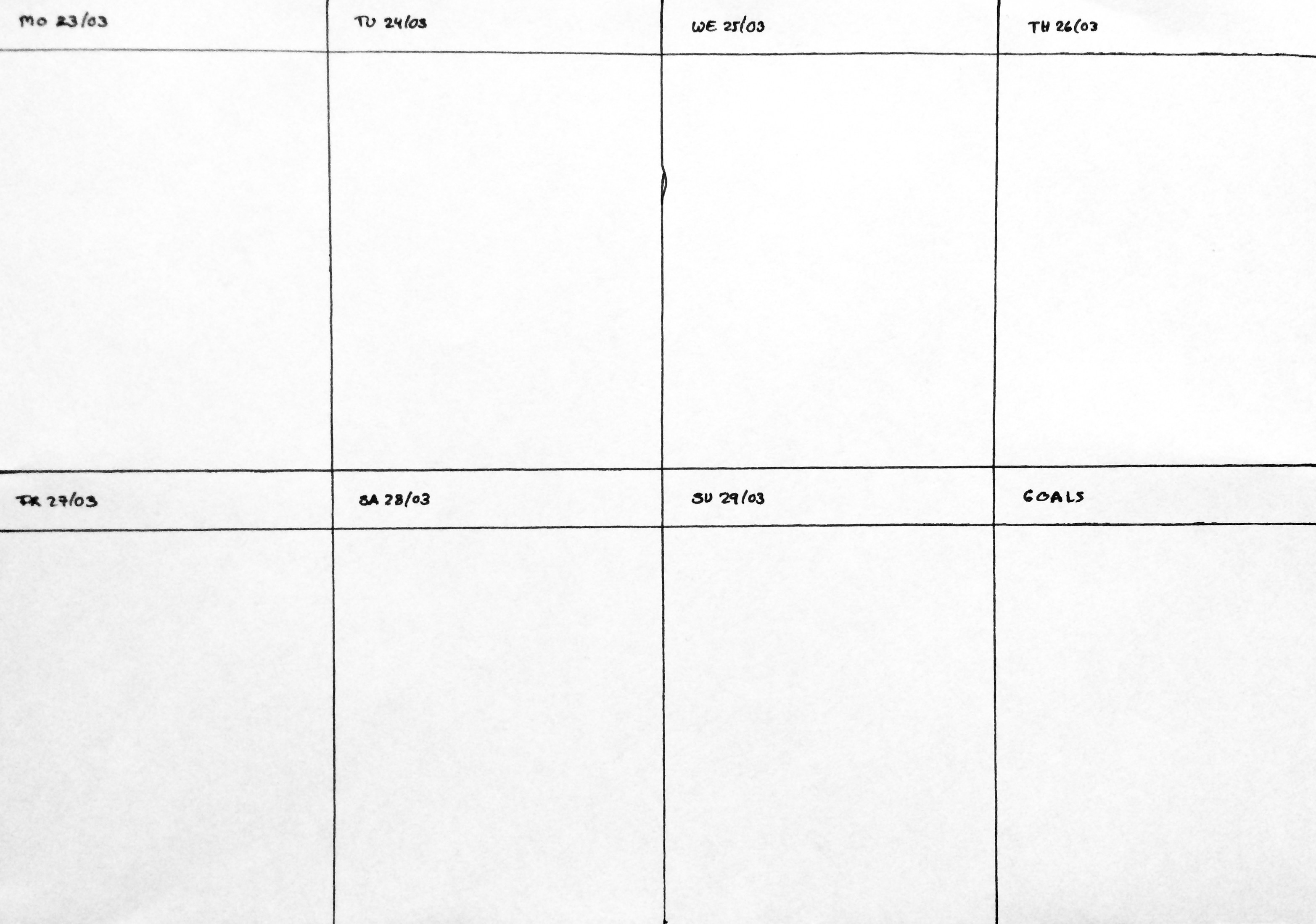 Weekly plan, empty