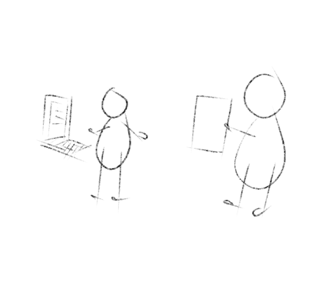 Two stick figures. One developer with his computer and the other one business person with requirements