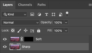 Screenshot of stacked layers and a layer mask in Photoshop