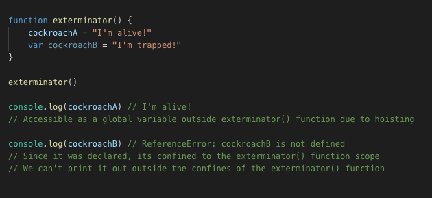 code example with var hoisting