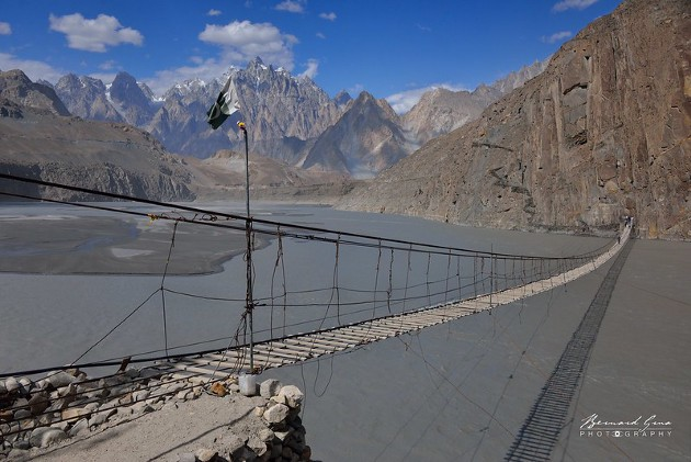 Hussaini suspension bridge, better photos can be done later in the afternoon—Photo Bernard Grua