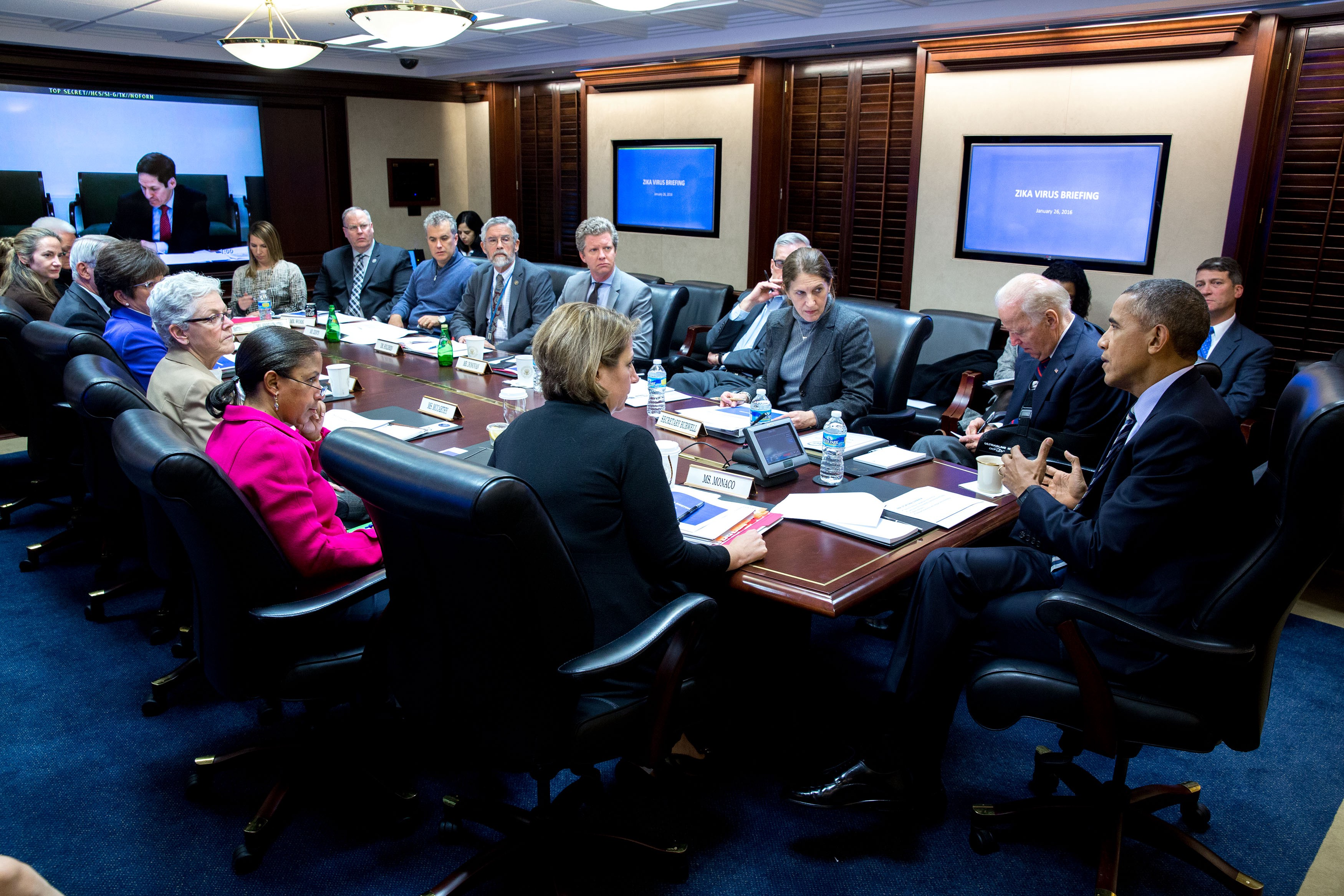 An Obama administration briefing on the Zika virus in the Situation Room