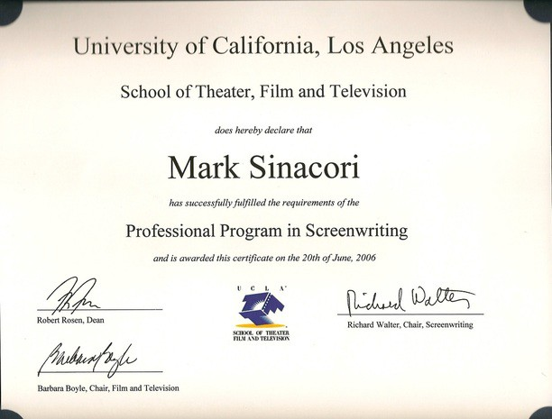 A Professional Screenwriting Certificate From Ucla After All Is A
