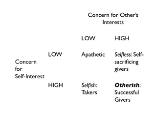 Otherish Give and Take Matrix (High Self and Other Interest)