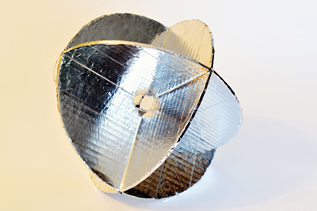 Example of a cheap but effective radar reflector made from cardboard and aluminum foil