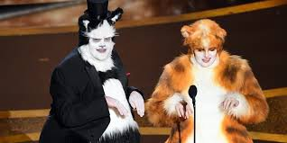 James Corden and Rebel Wilson wear costumes from Cats during Oscars 2020